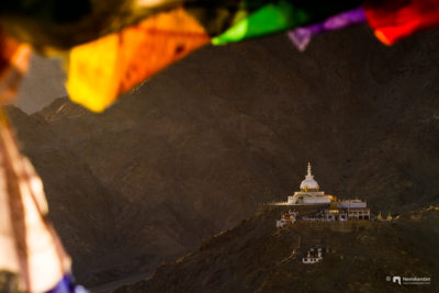 Santi stupa of leh, ladak, in the evening golden light.