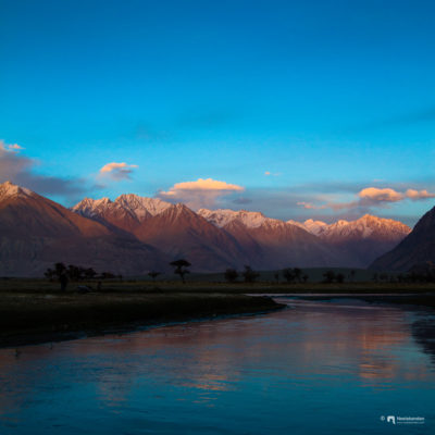 It's magical to see Nubra valley at sunset.