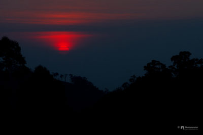 Sunset at the cold hill top of Munnar, Kerala